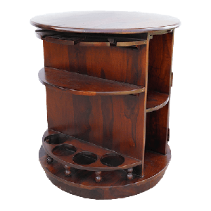 A  Pure Wood Elegant Round Shaped Polished Dark Red Bar Cabinet