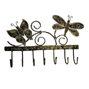 Iron painted 2 butter fly hanger (7hook)