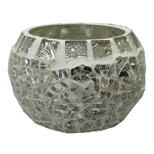 Silver Crystal Candle Holder