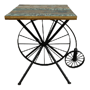 Iron Cycle Table with Wooden Top
