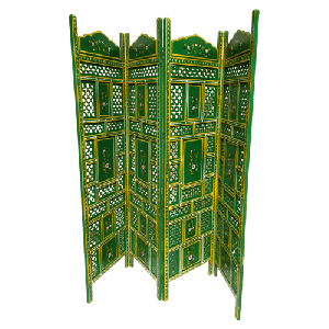 Light Green Wooden Traditional Hand Carved Screen