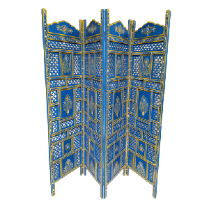 Blue Wooden Traditional Hand Carved Partition