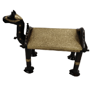 Wooden Metal Fitted Black Camel Bench