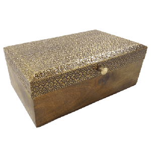 Antique Wooden Jewelry Box With Brass Fitted