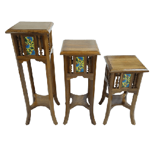Tile Fitted Plant Stand Tables Set of 3