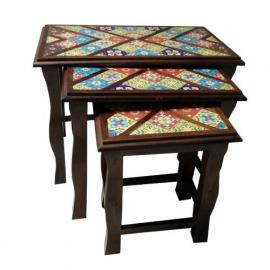 Wooden Nesting Table Tile Fitted (set of 3)