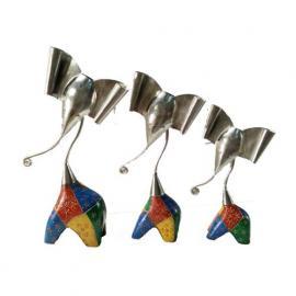 Multicolour Hand-Painted Elephants (Set of 3)